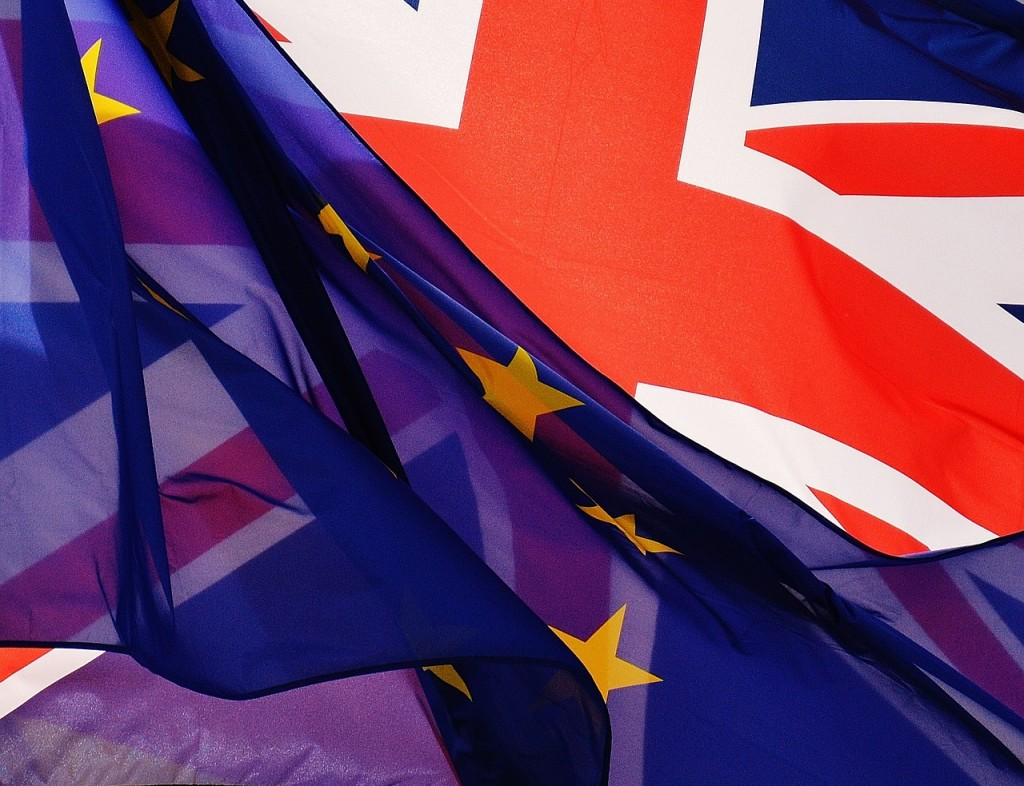 Europe and UK flag